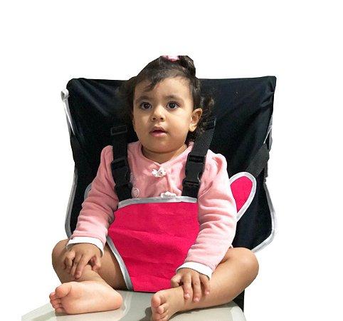 Cadeirinha Assento Portátil para Bebê em Tecido Rosa Liso com Preto