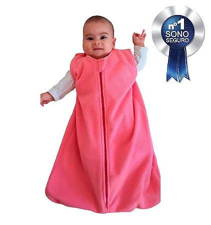 Saco de dormir para bebê em Microsoft rosa liso (inverno)