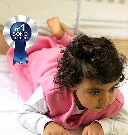 Saco de dormir bebê com pezinho em Microsoft Rosa [Inverno]