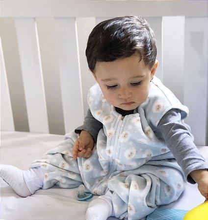 Saco de dormir bebê com pezinho em Microsoft Azul Ovelhinha [Inverno]