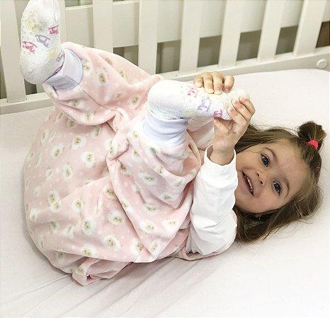 Saco de dormir bebê com pezinho em Microsoft Rosa Ovelhinha [Inverno]