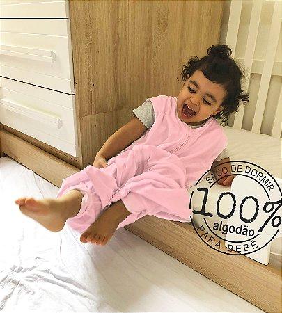 Saco de dormir infantil em malha 100% algodão rosa (verão) pezinho