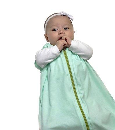 Saco para bebê dormir em malha 100% algodão verde (primavera/verão)