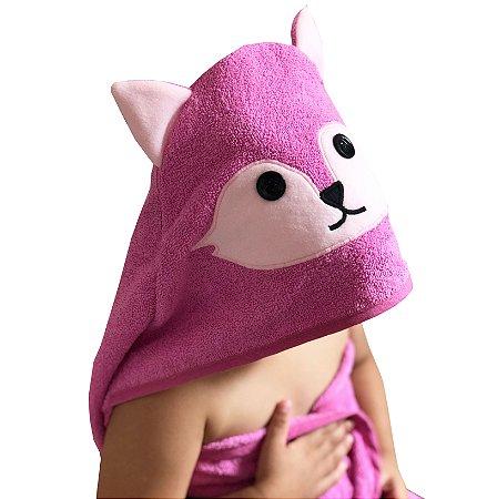 Toalha de banho com capuz de raposinha rosa para bebê 100% algodão
