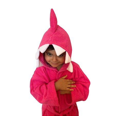Roupão de banho atoalhado 100% algodão capuz Baby Shark Rosa