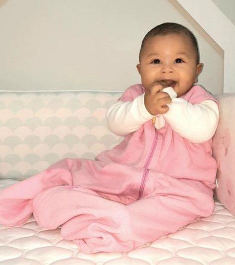 Saco de dormir sem manga para bebê em Moletom Rosa (inverno)