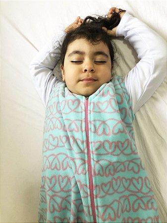 Saco de dormir para bebê em Microsoft corações (inverno)