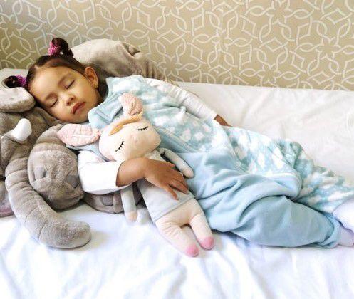 Saco de dormir antialérgico para bebê com pezinho azul nuvem [Outono/Inverno]
