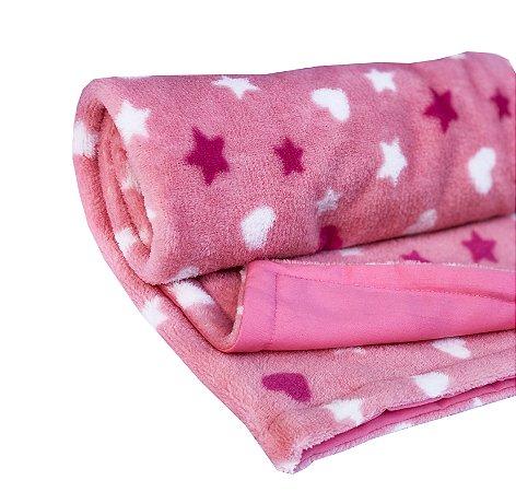 Manta Cobertor Dupla Face para Bebê Rosa Corações