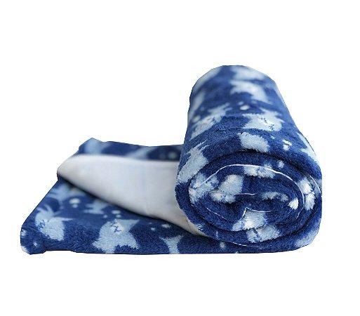 Manta Cobertor Dupla Face para Bebê Baby Shark Azul