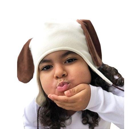 Touca Dupla Face Infantil Cachorrinho Microsoft Creme
