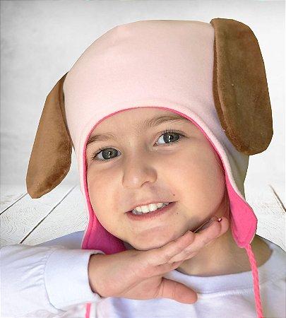 Touca Dupla Face Infantil Cachorrinho Microsoft Rosa