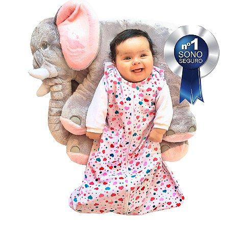 Saco de dormir para bebê em Moletinho Corações (Meia Estação) *Exclusividade Pipirica*