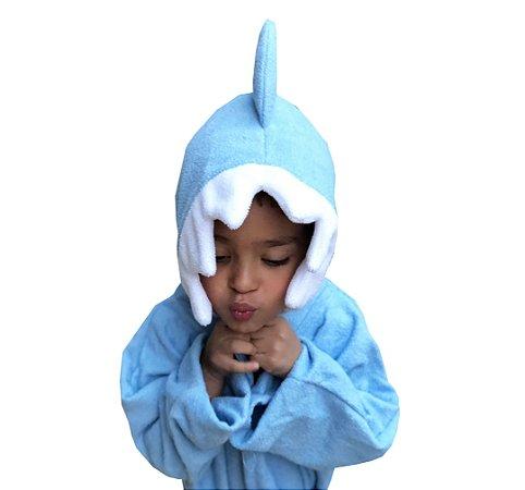 Roupão de banho atoalhado 100% algodão capuz Baby Shark Azul