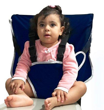 Cadeirinha Assento Portátil para Bebê em Tecido Tactel Azul