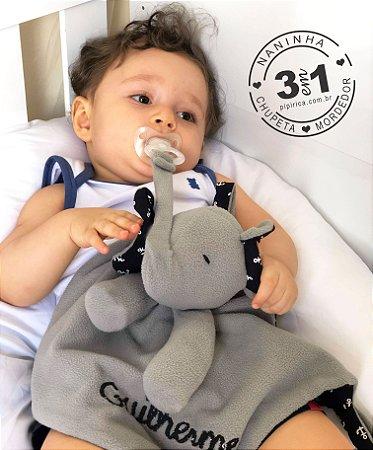 Naninha elefante tromba longa bebê prendedor de chupeta e mordedor (3 em 1)