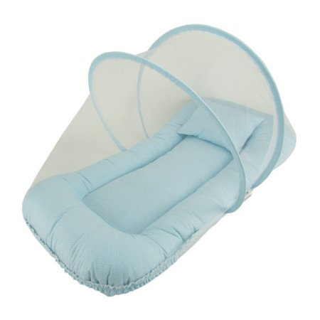 Berço Portátil Mosquiteiro Azul Poá BabyKinha