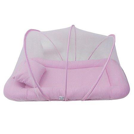 Berço Portátil Mosquiteiro 2ª Fase Rosa Poá BabyKinha