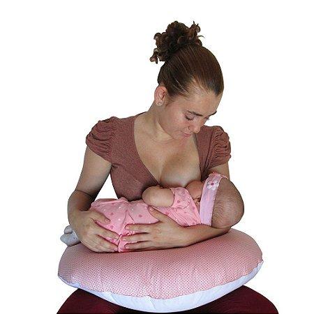 Almofada De Amamentação Rosa Poá Babykinha