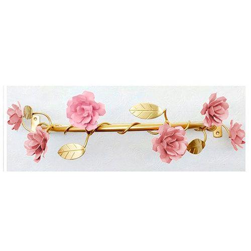 Dossel Lindas Flores Rosa com Folhas Douradas BabyKinha