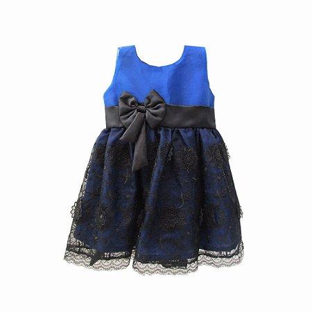 Vestido para Bebê Azul em Renda Francesa BabyKinha