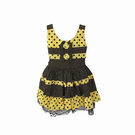 Vestido Infantil Preto com Amarelo para Bebê BabyKinha