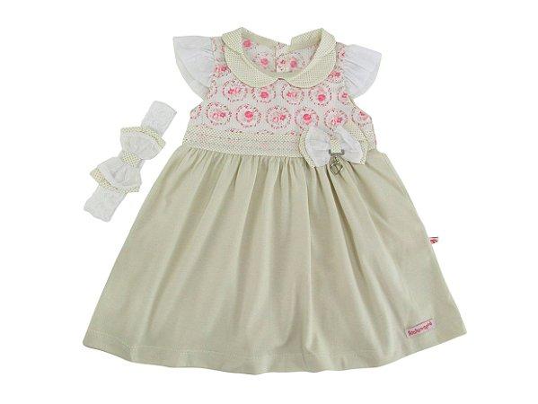 Vestido Floral tule Ombro Sonho de Nenê Bege