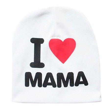 Touca I Love Mama Para Bebê Branca