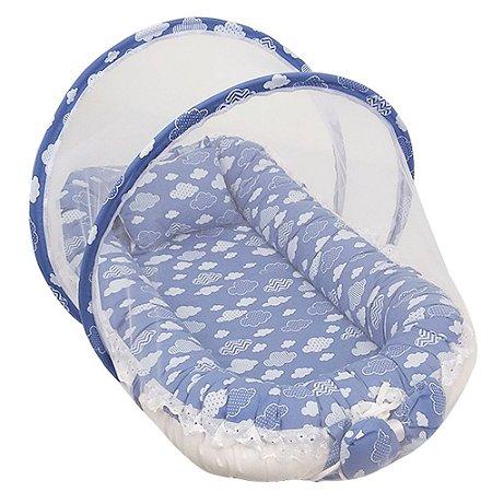 Ninho Para Bebe Com Mosquiteiro Nuvem Azul BabyKinha