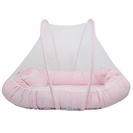 Ninho Para Bebe Com Mosquiteiro Rosa Palha BabyKinha