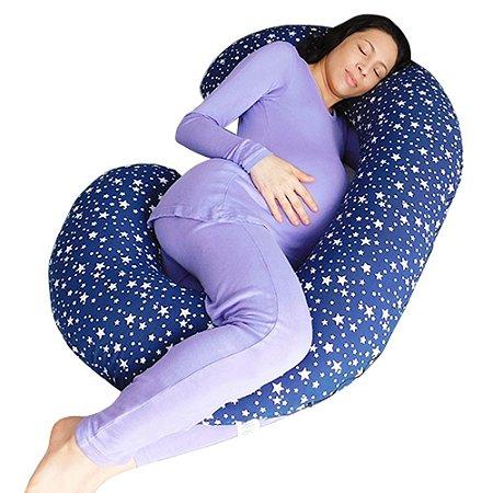 Travesseiro para Gestante Estrelinhas Marinho BabyKinha