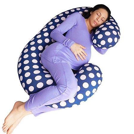 Travesseiro para Gestante Marinho Bolinhas BabyKinha