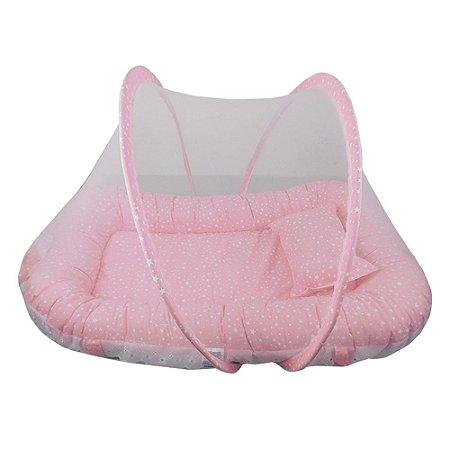 Ninho Para Bebe Com Mosquiteiro Estrelinha Rosa BabyKinha