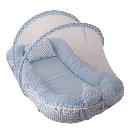 Ninho Para Bebê Com Mosquiteiro Azul Chevron Babykinha