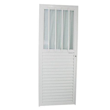 Porta Carioca Branca 210x80 Esquerda, Vidro Mini Boreal