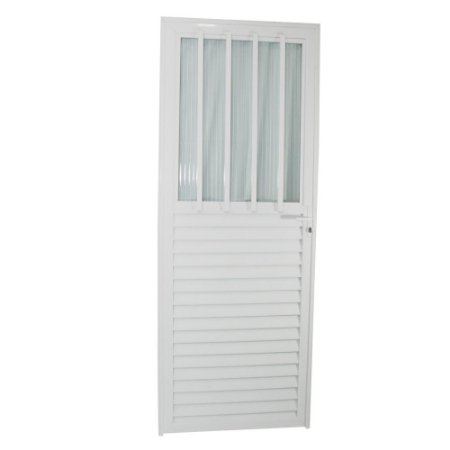 Porta Carioca Branca 210x80 Direita, Vidro Incolor