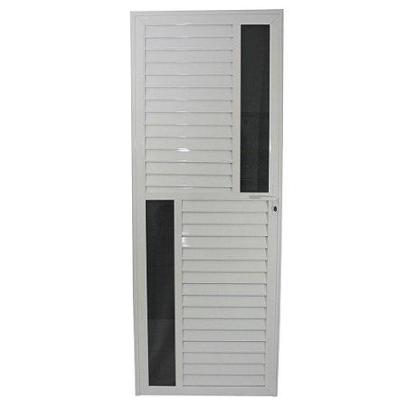 Porta Maxwell Branca 210x80 Abe Esquerda, Vidro Mini Boreal