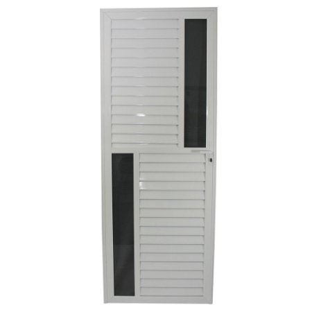 Porta Maxwell Branca 210x80 Abertura Esquerda, Vidro Fumê