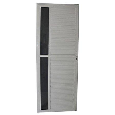 Porta Requinte Branca 210x80 Esquerda, Vidro Mini Boreal