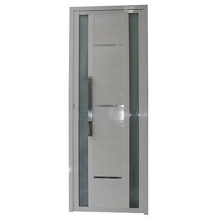 Porta Sublime Branca 210x80 Abertura Direita, Vidro Fumê