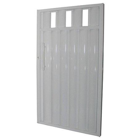 Portão Búzios com Grade Branco 180x82 Abertura Direita