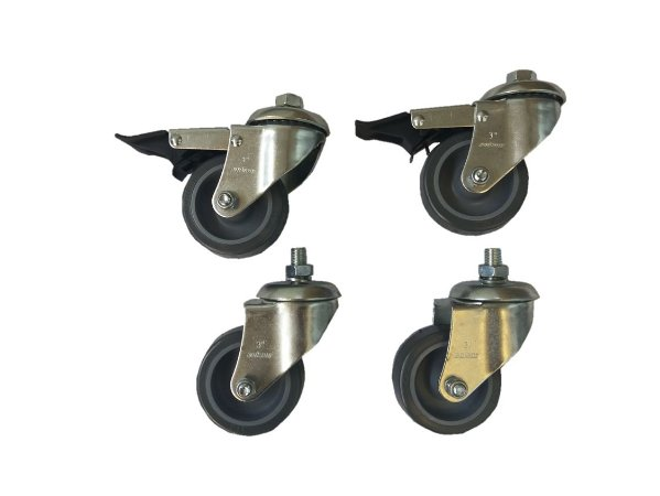 Kit Rodízios com 4 rodas (2 com travas)