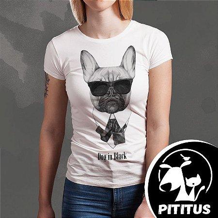 Camiseta bulldog-in-black - Feminina - Pititus 63cd2e2df3533