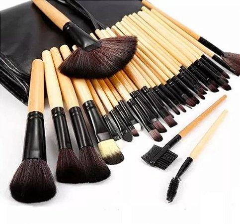 Kit 32 Pincel Maquiagem Profissional + Black Head