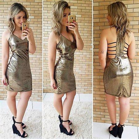 Vestido Metalizado Tiras