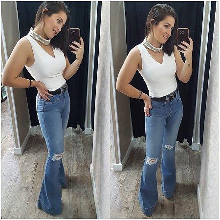 Maxi Flare Jeans Puídos