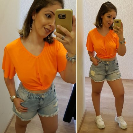 Shorts Jeans Claro Destroyed