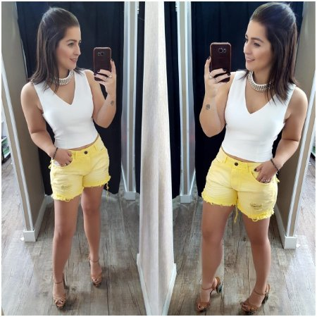 Shorts Jeans Amarelo Destroyed