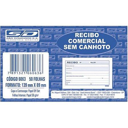 Recibo Comercial s/ Canhoto com 50 folhas - São Domingos 6063-2