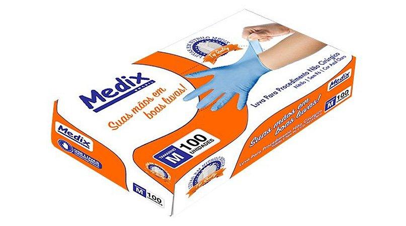 Luva Descartável Nitrilica s/ Pó Medix Azul Tamanho:P c/100 CA:40093